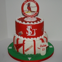 St, Louis Cardinals Birthday Cake Choc fudge cake with chite choc filling, lemom cake with fresh lemon curd all covered in MMF. Fondant/gumpaste accents.