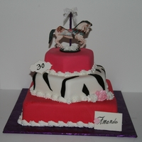 Carousel Horse Birthday Cake Stacked cakes covered in MMF. Carousel horse is edible image mounted on fondant. Fondant flowers accent the cajke. Client loved it!