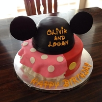 "Minniemickey Birthday Cake For Brother And Sister In Between Birthday Minnie/Mickey birthday cake for brother and sister ""in-between"" birthday."