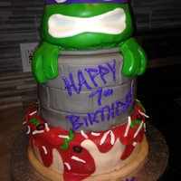 Tmnt - Donatello Marble cake with chocolate chip cookie dough filling.