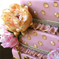 Sparkling Peonies Birthday Cake This was the tallest and most blinged-out birthday cake I've ever made. The client asked that every inch of this cake sparkle and...
