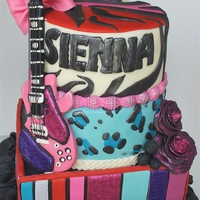 Glam-Rock Birthday Cake   This cake was for a seven year old girl who wanted her cake to be super colorful with lots of print and glam.