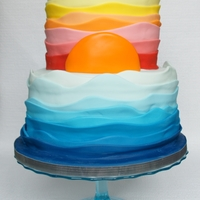 Ocean Meets The Sunset I came up with an ocean meets the sunset concept, inspired by the lovely sailboat with waves cake from One Sweet Slice. The client asked...