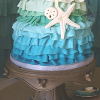 Mermaid Theme Sweet 16   The inspiration for this cake was a shower curtain from Anthropologie, that was used as the backdrop to the dessert table.