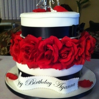 40Th Birthday Cake Black and white with red roses