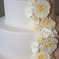 Elana And Sean's Wedding Cake!   An elegant two tiered cake with a cascade of ivory gumpaste and modeling chocolate roses.