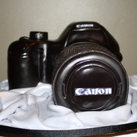 Canon Camera Cake!   My 2nd ever camera cake . . . all sculpted free hand, with an edible image on the back of the birthday fella's son!