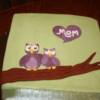 "Mother's Day Owl Cake 8"" orange dreamsicle (at my mom's request) with her favorite bird on it. Iced in buttercream dream with fondant decor."