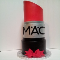 "Giant Lipstick! 6"", 7"", 8"", cakes all frosted with Pastry Pride. All 3 tiers were airbrushed to keep the color vibrant"