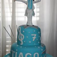 Michael Jackson's Cake For Tiago Yellow sponge cake filled with eggs cream, covered with sugar paste. All edible.