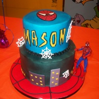 Spiderman Bottom is wasc cake, top is chocolate and bot are filled with strawberry mousse. Covered in buttercream with fondant decorations. Webs are...