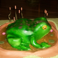 Frog Frog is all cake except his front legs which are rice crispies.