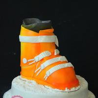 3D Ski Shoe Cake Carved And Painted With Airbrush 3D ski shoe cake, carved and painted with airbrush