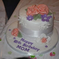Vintage Ribbon Rose Birthday Cake Made this one for a friend's mom's 65th birthday. It was my first attempt at ribbon roses.