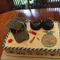 "Graduation Cake Graduation cake of my nephews favorite things. Even the ""grungy"" hat looked like his. Hubby did the shells and fishing stuff by..."