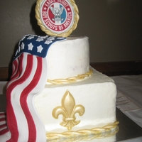 Eagle Scout Cake Cherry Cordial cake with white buttercream