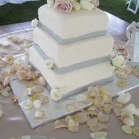 3-Tier Square Wedding Cake Top 2 tiers red velvet with cream cheese BD, bottom pure white Wedding cake (WASC) with white BC