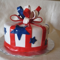 Fourth Of July Birthday Cake Yellow Butter Cake with chocolate ganache buttercream, decorated in Fourth of July theme