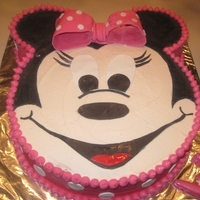 Minnie Mouse Birthday Cake Minnie Mouse birthday cake with buttercream and fondant; pink/white zebra cake