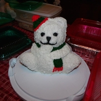 Winter Bear 3D teddy bear made with butter cream icing. Made it for a holiday party with family, and it was a big hit.