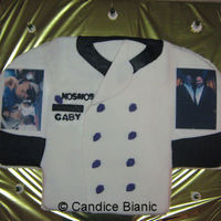 Chef Jacket Fondant coat, edible images, molded fondant buttons.