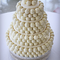 Cake Ball Wedding Cake More than 300 cake balls covering a 4 tiered (dummy) cake. The dummies were covered in MMF and then the cake balls were attached with...