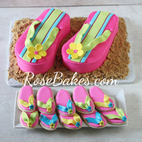 Flip Flops Cake And Cookies This is a Flip Flops Cake and Flip Flops Cookies.