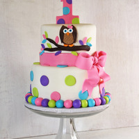 Bright Owl Cake With Polka Dots And A Bow For Twins Bright Owl Cake with Polka Dots and a Bow for Twins