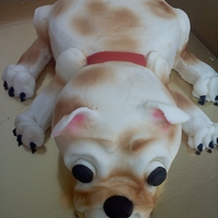 Puppy Cake Sculpted Puppy, buttercream with fondant eyes, nose, tongue, and claws