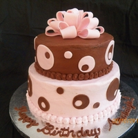 Polka Dot Birthday Cake Pink - Vanilla Buttercream icing, Brown - Chocolate Buttercream icing with fondant bow and polka dots