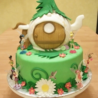 "Tinkerbell Teapot Cake Tinkerbell/Disney Fairies themed birthday cake: Bottom tier is a 9"" round cake; Teapot is a 6"" round ball cake. Both are covered..."