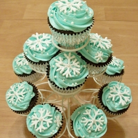 Winter Wonderland Cupcakes Chocolate cupcakes with ice blue vanilla buttercream frosting. The snowflakes are made of royal icing and the cupcakes were sprinkled with...