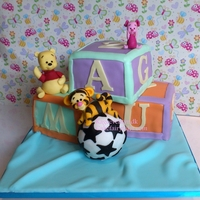 Baby Pooh And Friends I made this cake for little Magnus (6 month old) when he got baptized. I made Pooh and Friends from Wilton Fondant. The soccer ball is...