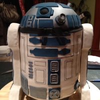 "R2D2 3D Cake This was a fun first try at this big of an undertaking. The cake is a white almond with almond butter cream. I used 6 9"" rounds for..."