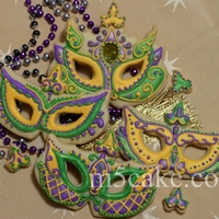 Mardi Gras Mask Sugar Cookies decorated with royal icing