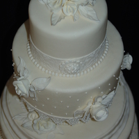 Antique Lace And White Roses Wedding Cake