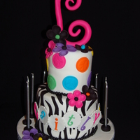 Rainbow Peace Sign Polka Dots And Zebra Stripes!!!  I made this cake for you daughter's 11 Birthday!!! It is all for her favorite things Rainbow colors, peace signs, polka dots, flowers...