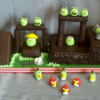 "Angry Birds  This fun ""playable"" Angry Birds cake was designed to wish a very special little boy the happiest of Birthdays and it really works..."