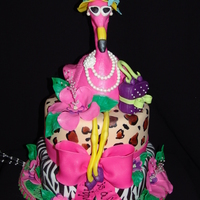 "Fancy ""retirement"" Pink Flamingo Cake!  The Crazy, Fun cake was design for a ""Now Everyday is a Holiday"" retirement party! It is a two tier chocolate fudge cake with..."