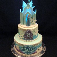 "Frozen Ice Castle Cake 6"" & 8"" buttercream. Fondant and gumpaste accents. Also hard candy 'ice'.Mini battery-operated light inside castle..."