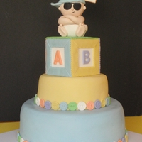 """new Kid On The Block"" Cake Fondant Cake With Fondant Baby Topper"