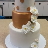 White And Gold Peony Weddind Cake