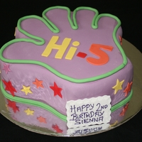 Hi-5 Hi-5. Chocolate Mud, Fondant covered and cutouts. Simple but the kids love it.