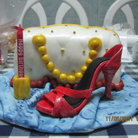 Shoe And Bag Cake made this for my good friend's birthday =) everything is edible, made from fondant =) cake is made of red velvet cake with cream...