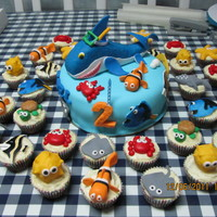 Sea Creatures Cake And Cupcakes this is made for a 2-year old boy who loves sea creatures =)
