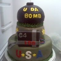 Army Cake For a young man going in the army to defuse bondsBombs