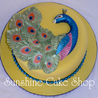 "Peacock Cake This is an 8"" round. I used Autumn Carpenter's peacock feather impression mat and instructions from her website for this cake. I..."