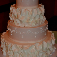 Rose Petals & Pearls Wedding Cake