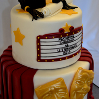 "Theater Theme Graduation Cake 8"", 6"" cakes with modeling chocolate cap & mortar board, fondant diploma, marquee & drape, candy melt comedy &..."