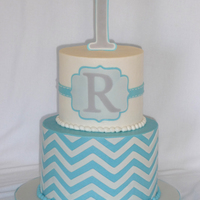 Chevron 1St Birthday Cake Buttercream covered with MMF details (tylose added to plaque and 1).